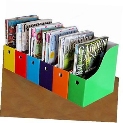 6 magazine/file holders & labels,assorted colors