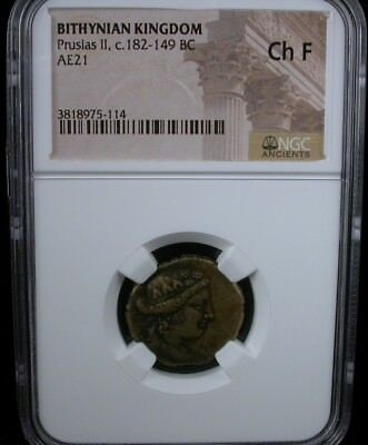 BITHYNIAN KINGDOM Prusius II c.182-149 BC AE21 ANCIENT COIN NGC Ch F