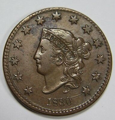 1830 Large Letter Liberty Matron Head Large Cent Penny Old US Coin NR P1R XX035