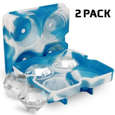 ICE Maker Diamond Tray Mold Cube Whiskey Ball Cocktails Silicone HOT