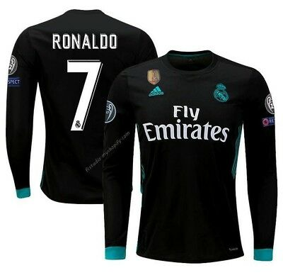 6debba8c6 Adidas Cristiano Ronaldo Real Madrid Long Sleeve Ucl Away Youth Jersey 2017  18.