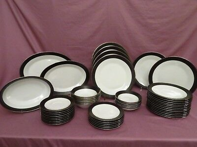 48pc Noritake SHARON #6883 Black Floral Band, Platinum Trim China for 6+, Japan