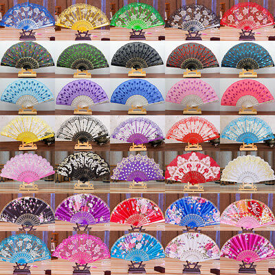 Chinese Lace Silk Folding Spanish Hand Fan Flower/Feather Dance Wedding Party