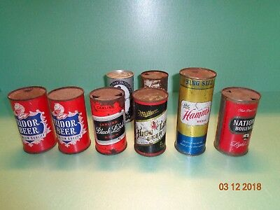 Vintage Lot Of Flat Top Beer Cans  Hamm's Miller and Carling Black Label