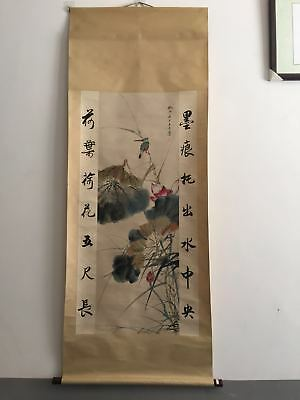 Excellent old Chinese Scroll Painting By Zhang Daqian :bird flower X048