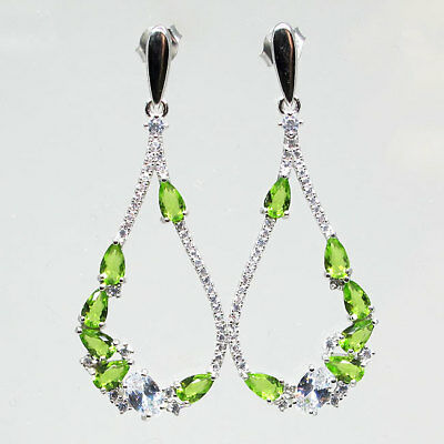 Wonderful Peridot Green & White 925 Sterling Silver Stud Earrings