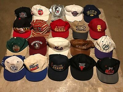 232f217884e1e9 Vintage 90s Sports Promo NBA NFL MLB College Restore Lot of 20 Hats Starter,  SS