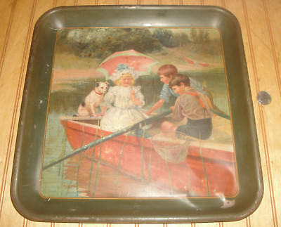 "Antique early 1900's 13"" X 13"" Metal Restaurant Serving Tray ""The City Cousin"""