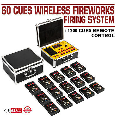 60 Cues Wireless Control Fireworks Firing System Wedding Gift Stage Copper Wire