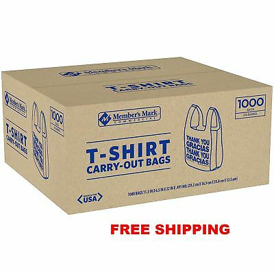 Member's Mark T-Shirt Carry-Out Bags 1,000 ct HEAVY DUTY convenience stores