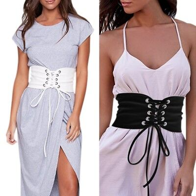 Women Elastic Corset Belt Wide Stretch Waist Band Adjustable Waistband Buckle