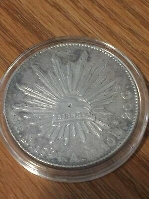 MEXICO 1894 Mo MINT AM 8 REALES LIBERTAD CAP RAYS SILVER COIN WITH CAPSULE