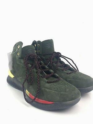 e16507c29974 Under Armour Sz Men 10.5 Curry Lux 1296617-330 Basketball Green Gold Suede  Shoes