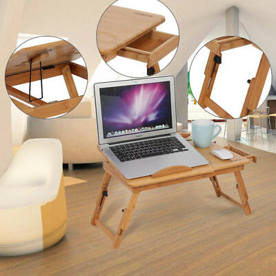 Foldable Bamboo Laptop Table Desk Notebook Book Reading Bed Writing Tray Stand