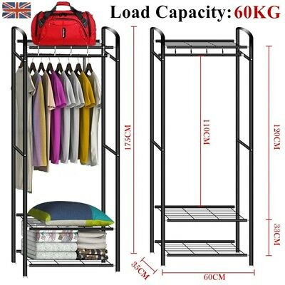 Metal Hat Coat Stand Clothes Shoes Storage Stands Steel Rack Hanger Shelf