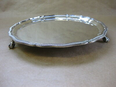 """Vintage Mappin & Webb Silver Plated Tray ~ Ball & Claw Feet ~ 10"""" Diameter"""