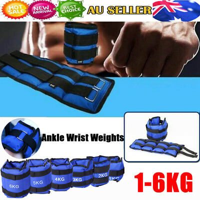 2x ADJUSTABLE ANKLE WEIGHTS GYM EQUIPMENT WRIST FITNESS YOGA 1/2/3/4/5/6 kg AU
