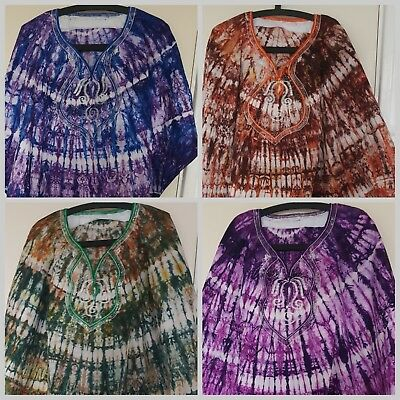 FESTIVAL CLOTHING Authentic tie dye adire womens Kaftan West Africa - embroidery