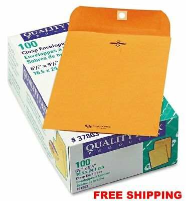 Quality Park - Clasp Envelope, 6 1/2 x 9 1/2, Brown Kraft - 100/Box NEW