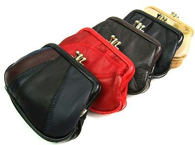 New Small Soft Genuine Leather Patchwork Purse Clip Top Twin Pouches Bottom Zip