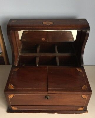Antique Victorian/Edwardian Mahogany Inlaid Gaming Tantalus Compendium