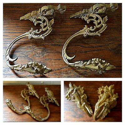 EXQUISITE two HUGE ANTIQUE FRENCH CHATEAU CURTAIN / DRAPE HOOKS 1800's tie back