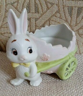 Vintage Lefton 1984 Bisque Bunny Figurine Egg Cart Easter Candy Container #04373