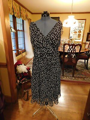 Beautiful Polka Dot Black & White Mother Or Formal Ruched Chiffon Dress Sz 18W