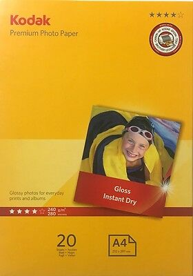 Kodak Premium Photo Paper Inkjet Super Gloss 240gsm A4 Pack 20