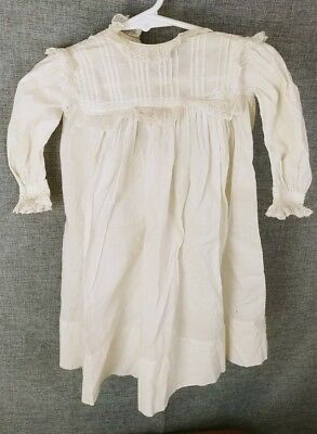 Antique BABY Gown Petticoat Slip Lace Wide Crochet Edging Doll Christening Gown