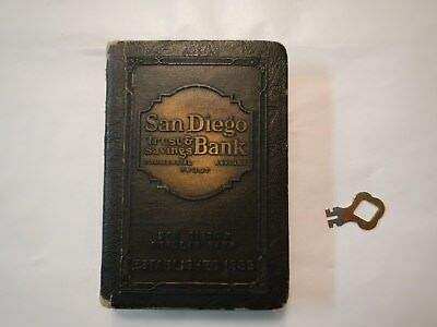 BANKERS UTILITIES CO Metal Book Coin Bank San Diego Trust & Savings Bank w/ Key