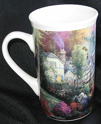 "2003 Thomas Kinkade 4 3/4"" Tall Coffee Mug Cottage in Cournty Design Pre-Owned."