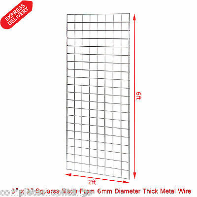 1 x 6FT GRIDWALL/ GRID WALL MESH CHROME DISPLAY PANEL (Size: 6ft H x 2ft W )