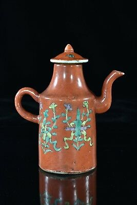 Antique Chinese Tong Chi Coral Red Porcelain Teapot / Wine Pot, Qing, 19th c