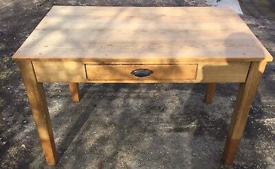 Antique Pine Table/desk With One Drawer