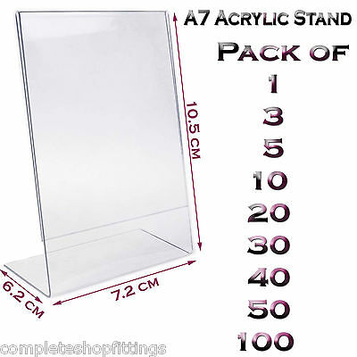 New A7 Acrylic Portrait Poster Menu Holder Perspex Leaflet Display Stands