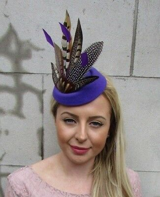 Purple Brown Pheasant Feather Pillbox Hat Fascinator Races Hair Clip Ascot 5473