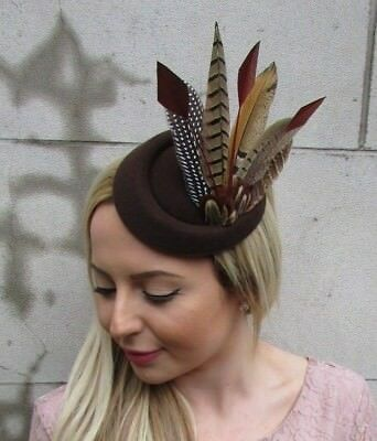 Brown Pheasant Feather Pillbox Hat Fascinator Races Hair Clip Ascot Wedding 5474