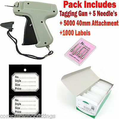 Tagging Gun + 5 Needles +1000 BLACK DOUBLE TICKETS+ 40mm Kimble Tags Attachments