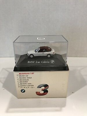 1:87 Scale Bmw 3Er Cabrio White  With Case Made By Herpa & Sold Through Bmw Only