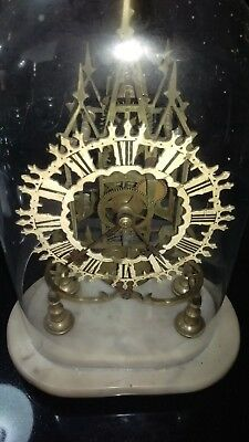 Victorian Fusee Skeleton Clock With Pendulum And Key