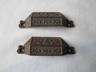 Pair of ANTIQUE VINTAGE EASTLAKE VICTORIAN DRAWER BINS CUPBOARD PULL Cast Iron