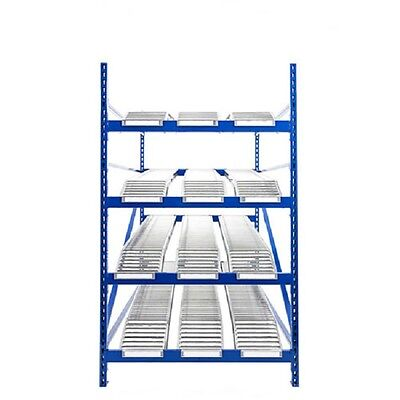 """NEW! UNEX Gravity Flow Roller Rack with Knuckled Span-Track 96""""W x 96""""D x 84""""H!!"""