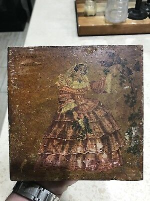 Sarreguemines oil Painting Tile 18th Century Possibly Religious Plaque Painted