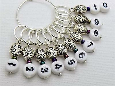 Metallic Numbered Knitting Stitch Markers - fit upto 7mm needles