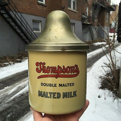 "VINTAGE c.1940 MINT YELLOW PORCELAIN ENAMEL ""THOMPSON'S MALTED MILK"" CONTAINER"