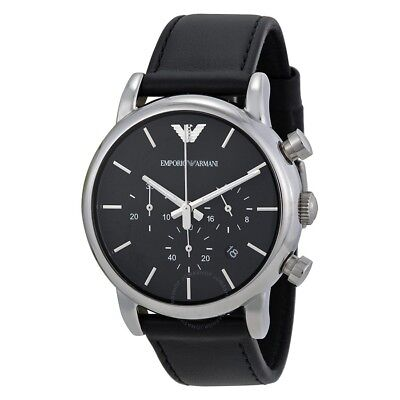 New Genuine Emporio Armani Ar1733 Mens Luigi Black Leather Watch Uk