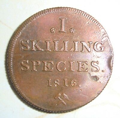 1816 NORWAY 1 SKILLING SPECIES COPPER COIN Nice Condition