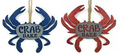 Crab Bake Wall Decor Sign Blue or Red Decorative Hanging Plaque Coastal Decor