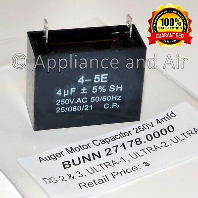 Bunn Capacitor 27178.0000 250V 4 uF CDS-2 & 3, ULTRA-1 & 2, 2A - FAST Shipping!